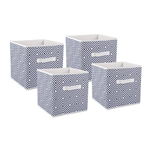 DII Foldable Fabric Storage Containers for Nurseries, Offices, Closets, Home Décor, Cube Organizers & Everyday Use, 11 x 11 x 11, Nautical Blue Diamond-Set of 4