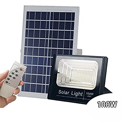100W Solar Powered Street Flood Lights, 196 Leds 5,000 Lumens Outdoor Waterproof IP67 with Remote Control Security Lighting for Yard, Garden, Gutter, Swimming pool, Pathway, Basketball Court, Arena