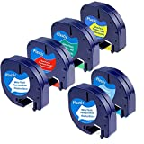 6 Pack Compatible DYMO LetraTag 91331 91331, 91332, 91333, 91334, 91335 Refills Self-Adhesive Labeling Tape Cartridge Compatible with DYMO LetraTag LT-100H LT-100T Plus Printers, 1/2 inch x 13 Feet
