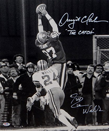 (Dwight Clark Everson Walls Autographed 16x20 BW Insc w/ The Catch Photo- PSA Auth)
