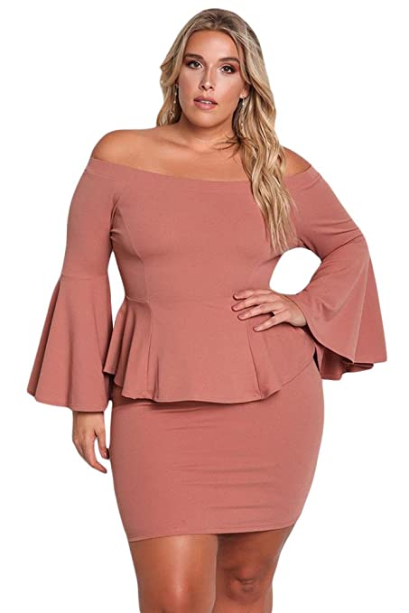 Ladies Plus Size Dusty Pink Off The Shoulder Bell Sleeves Peplum ...