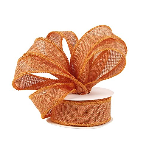 Burlap Ribbon Perfect for Wedding Home Decoration Gift Wrap Bows Made Handmade Art Crafts 1-1/2 Inch X 10 Yard Spool (Orange)