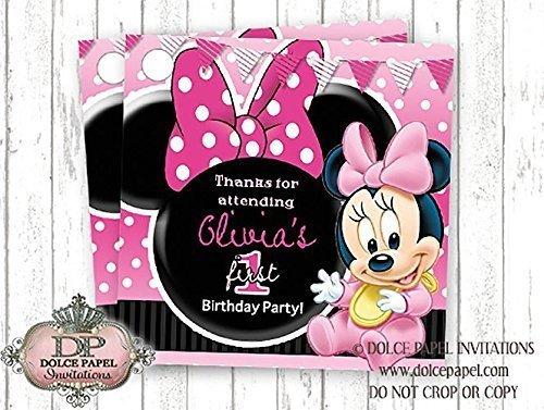 10 BABY MINNIE MOUSE Black and Pink Polka Dot FIRST Birthday Party Favor Tags ()