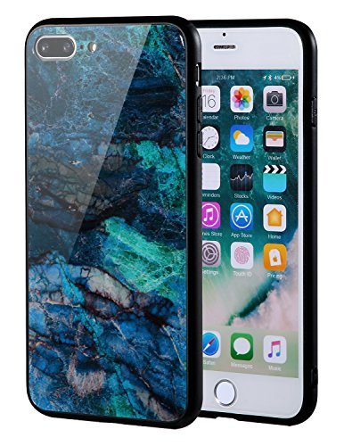 The Mass iPhone 7 Plus case, iPhone 8 Plus case, Marble Creative Design on Tempered Glass Back Cover with Soft TPU Frame for iPhone 8 Plus/7 Plus (Green Jasper Marble)