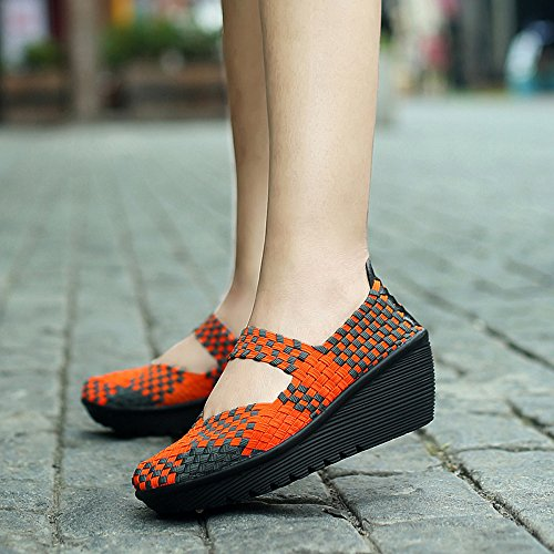 Sandals US 5 Jane Mary B EnllerviiD Orange 2juse35 Weave Closed Wedge Platform Heel Shoes Sandals M SDF889 Toe Women qUYXwZ