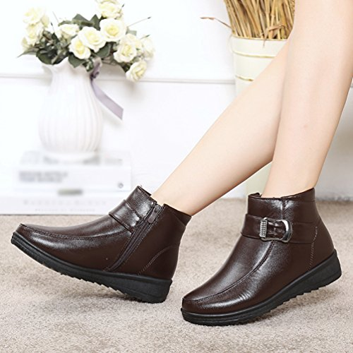 CHENGYANG Womens Warm Faux Fur Lined Casual Comfort Non-slip Ankle Boot Walk Shoe Brown 38x4ESo4M1