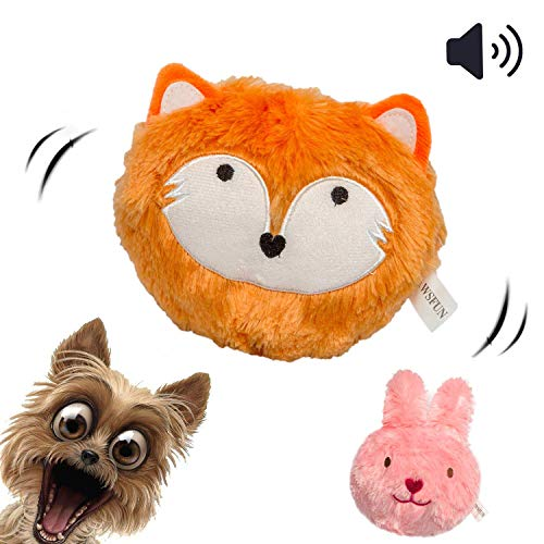 PawsFun Dog Toy Ball Upgrade Bouncing Squeaky Interactive Giggle Toys for Puppy - More Quiet More Simple Installation More Durable Covers]()