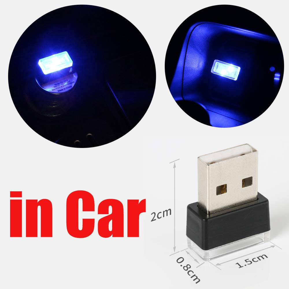 Blue 2pcs CHIYOU Car Mini USB LED Car Interior Ambient Lighting Decoration Night Light with USB Charging for All Cars Vehicle SUV Truck Automotive Decorative Led Lamp