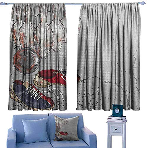 - ParadiseDecor Bowling Party Rod Curtains Bowling Shoes Pins and Ball in Artistic Grunge Style Print,Backout Curtains for Kids Iving Room,W72 x L84 Inch