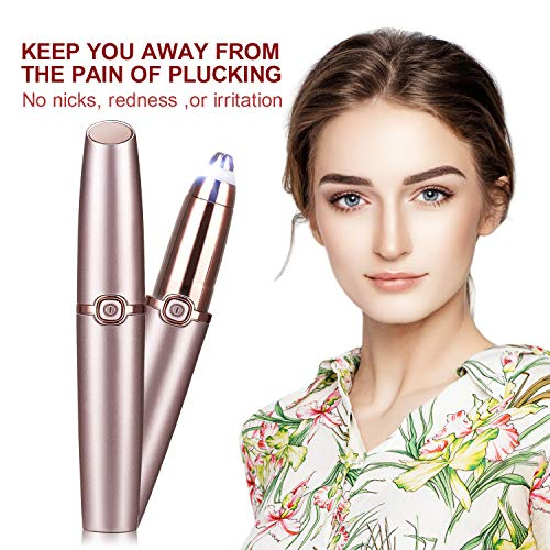 【2020 Version】Eyebrow Trimmer - Painless Eyebrow Hair Remover Portable Eyeborw Razor Shaver with LED Light & Eyebrow Pencil for Women Lady (Rose Gold)