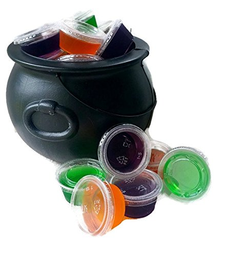 Halloween Jell-O Shot Starter Kit Bundle - 5 Items - 50 Count Plastic Jello Shot Cups with Lids, 2 Oz - Lime Gelatin Jello, Orange Getatin Jello and Grape Gelatin -