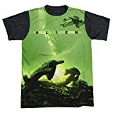 Alien Ship All Over Print With Black Back T-Shirt Large White