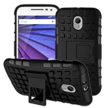 Moto G 3rd Generation Case,YiLin [Kickstand] Black Armor Case [2 in 1 Rugged Hybrid] Hard/Soft Drop Impact Resistant Protective Case with Kickstand for Motorola Moto G3 (3rd Gen, 2015), Black