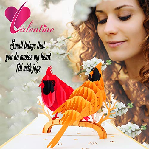 LCNature 3D Pop Up Cards | Cardinal Bird Cards Anniversary | Pop Up Birthday Card | Pop Up Card for Christmas, Valentines, Mother's Day, Birthday, New Year, Baby, Wedding Photo #4