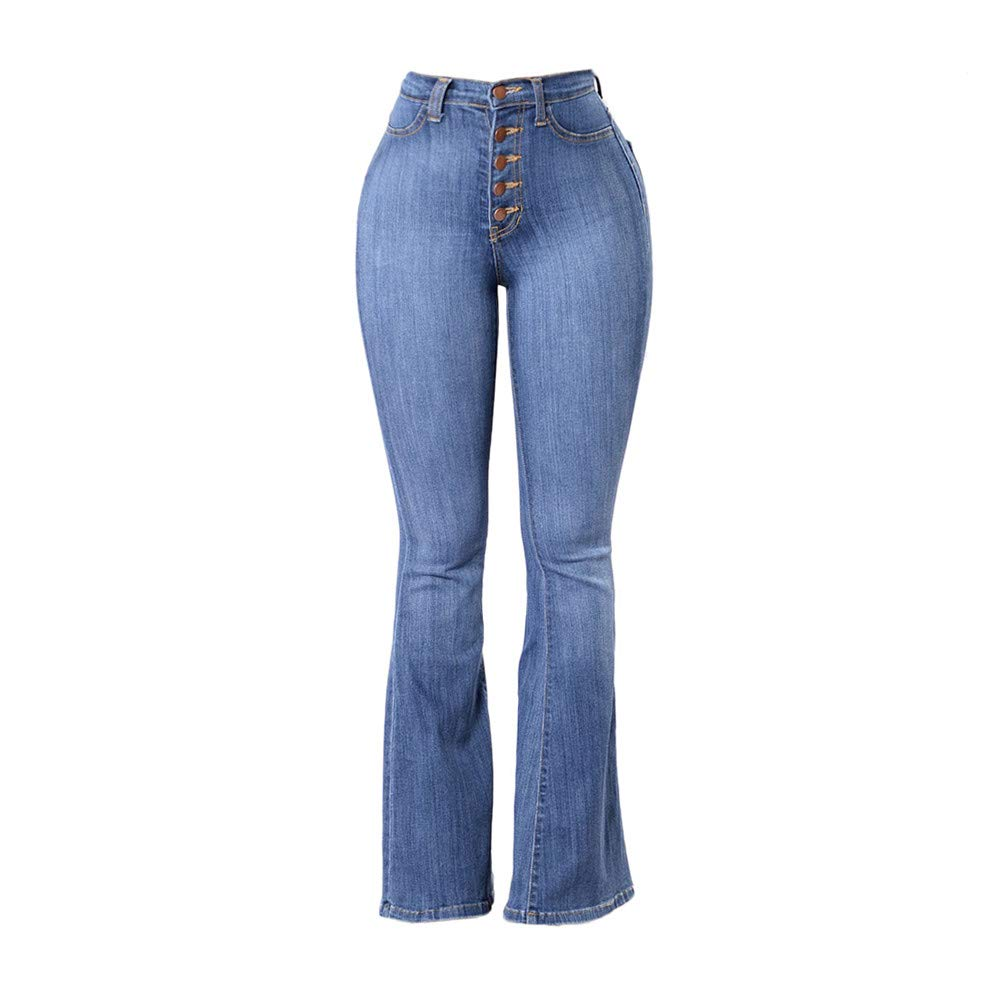 2ea40cacaec11 Women s Juniors High Rise Bell Button Fly Flare Jeans Denim Pants Bootleg  at Amazon Women s Jeans store