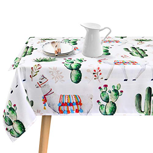 Sunm Boutique Cactus Rectangular Tablecloth Hot South Desert Plant Cactus with Camel Table Cloth Durable Waterproof Table Cover 60W X 120L Inches for Dinning Room Kitchen Picnic Holiday Parties