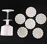 Zicome Moon Cake Mooncake Decoration Mold Mould Cookie Cutter Mold Hand Pressure 75g Flowers Round 6 Stamps