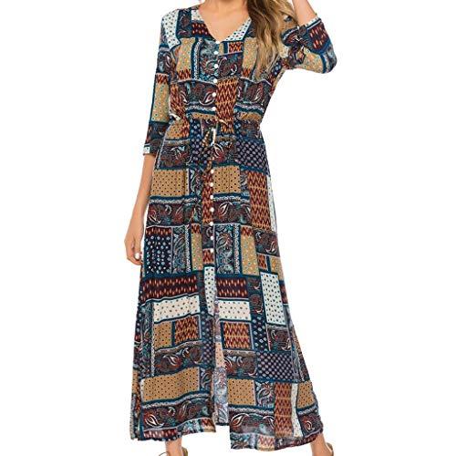 KLHNU Women's Summer Fashion Beach Bohemian Spliced Dresses(A Black,XL) ()