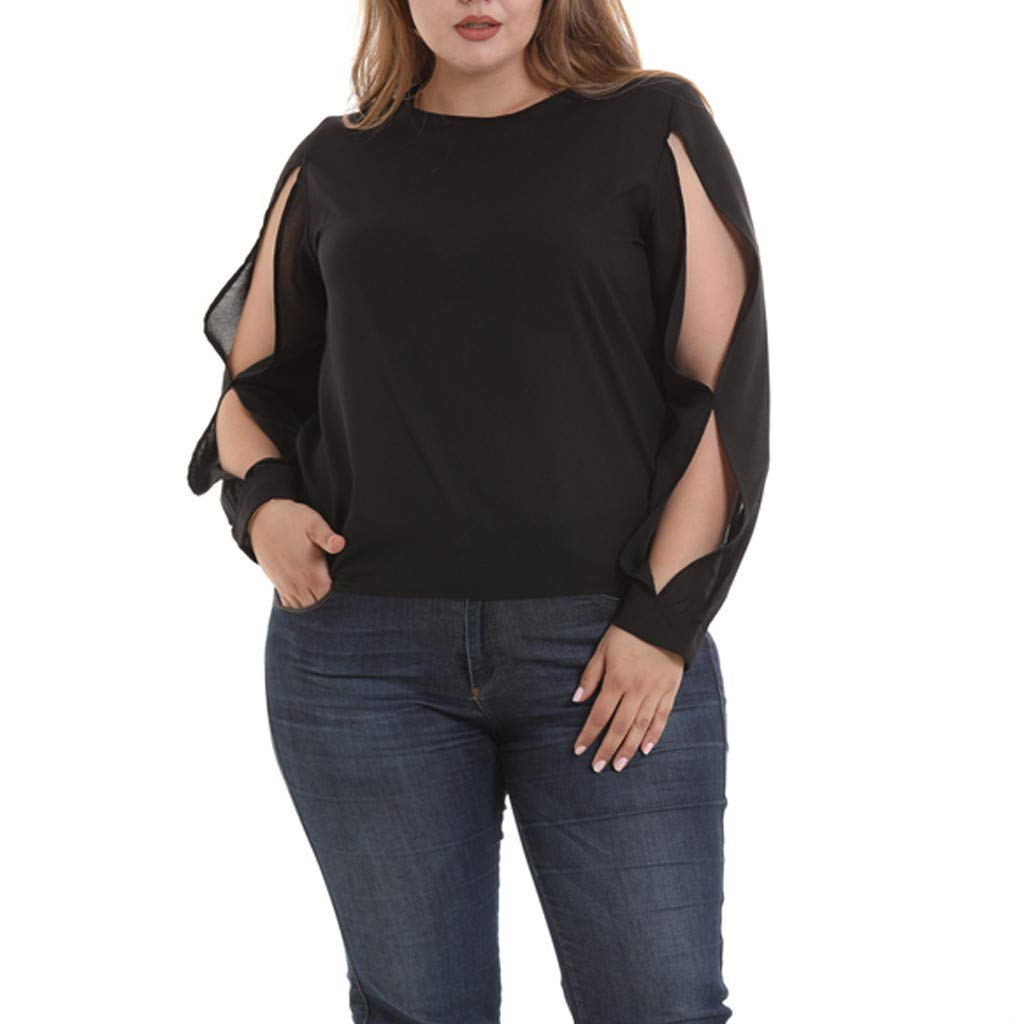 Plus Size Women's Casual Loose Hollowed Out Shoulder Long Sleeve T-Shirt Casual Tops Blouse (L, Black)