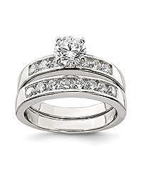 IceCarats® Designer Jewelry Sterling Silver 2-Piece Cz Wedding Set Ring
