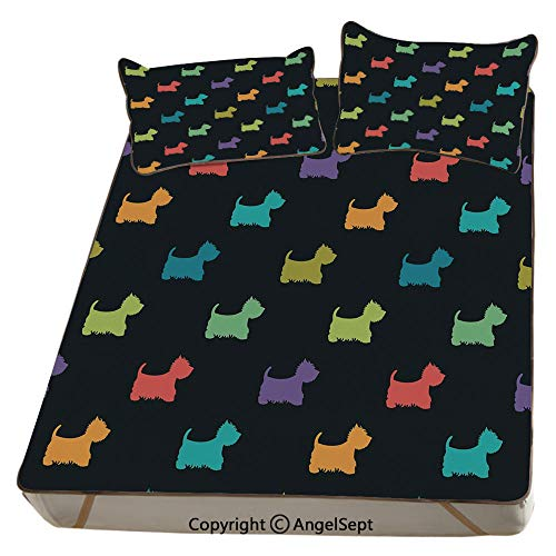 Dog Lover,Summer Cooling Mat 3D Printing Foldable Folding Summer Ice Silk Cover Cool Mat with Pillowcase(Full) Colorful Dog Silhouettes West Highland Terriers Canine Cartoon Style Animal Fun ()