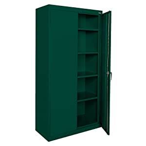 "Sandusky Lee CA41361872-08, Welded Steel Classic Storage Cabinet, 4 Adjustable Shelves, Locking Swing-Out Doors, 72"" Height x 36"" Width x 18"" Depth, Forest Green"