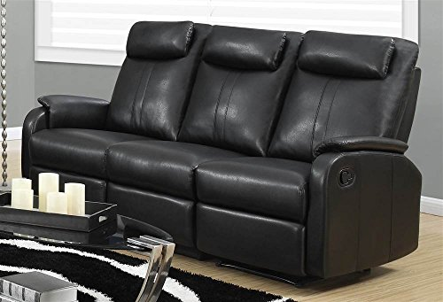 Monarch Specialties I 81Bk 3 Black Bonded Leather Reclining Sofa in