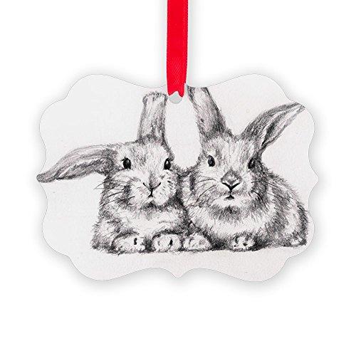 CafePress Picture Ornament - 2 Bunny Rabbits Christmas Ornament, Decorative Tree Ornament -