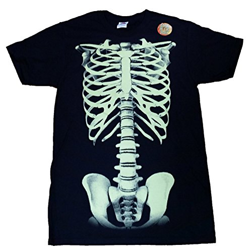 Halloween Skeleton Costume Black Graphic T-Shirt - Medium (Fruit Of The Loom Halloween Costumes)