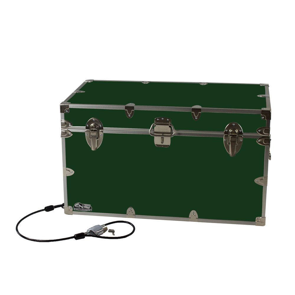 College Dorm Room & Summer Camp Lockable Trunk Footlocker with Cable Lock - Graduate Trunk by C&N Footlockers - Available in 20 colors - Extra-Large: 32 x 18 x 18.5 Inches