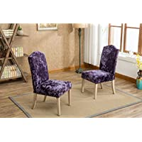 Roundhill Furniture C176PL Caen Nail Head Urban Style Solid Wood Ice Velvet Fabric Padded Parson Chairs Set of 2, Purple
