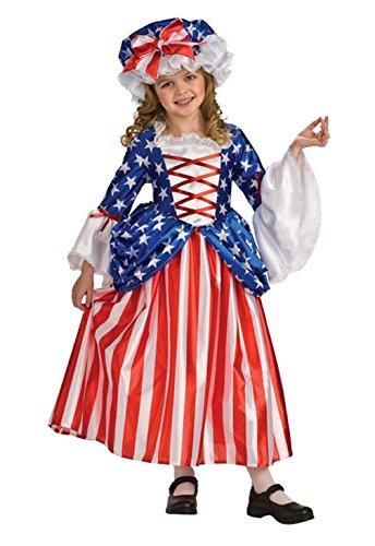 [Mememall Fashion Betsy Ross Deluxe Girls Child Costume] (Girls Deluxe Catwoman Costume)