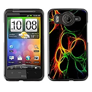 TopCaseStore / la caja del caucho duro de la cubierta de protección de la piel - Green Yellow Fire Black - HTC G10