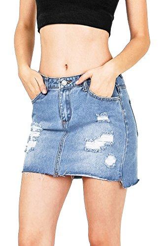 I & M Women's Juniors Ripped Raw Hem Denim Mini Skirt (L, Denim)