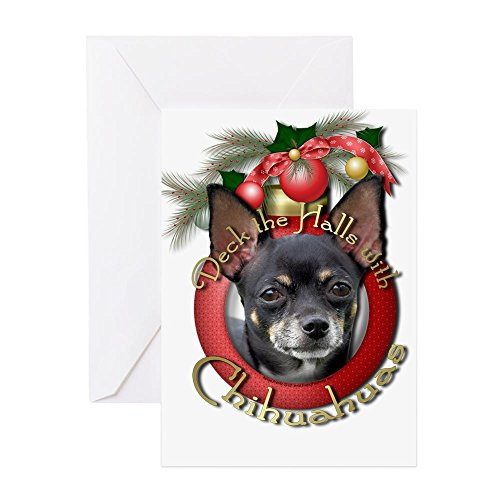 CafePress Christmas - Deck The Halls - Chihuahuas Greeting C Greeting Card, Note Card, Birthday Card, Blank Inside Matte