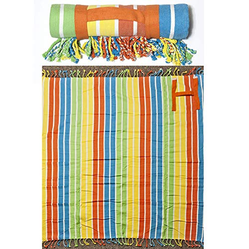 (Stripe Fringed Roll-Up Oversized Beach and Picnic Blanket for 2 People with Easy Carry Handle, 100% Cotton, 60 Inch Wide x 60 Inch Long, Orange)