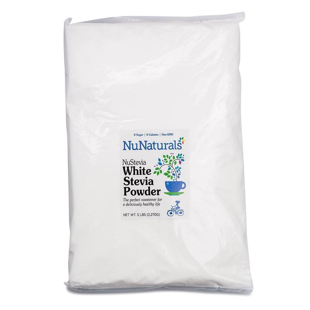 NuNaturals White Stevia Powder, Natural Sweetener, Sugar Free (5 lbs)