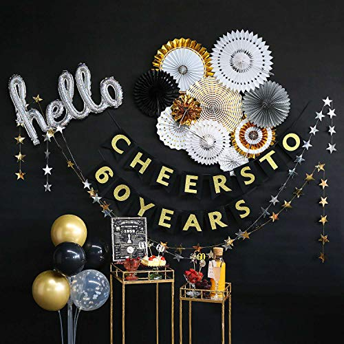 Elegant 60th Birthday Decorations (60th Birthday Decorations by Hombae, BACK IN 1959 SIGN, 60th Bday Decorations for Women or Men, 60th Wedding Anniversary Decorations, 60 Years Old Party Supplies, Cheers to 60 Years)
