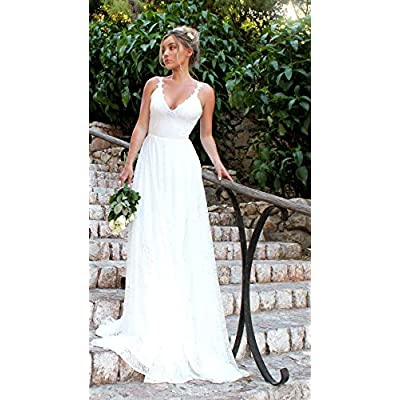 OSMall Wedding Dress for Women Floral Lace Bandage Backless Formal Prom Party Bridesmaid Dress at Women's Clothing store