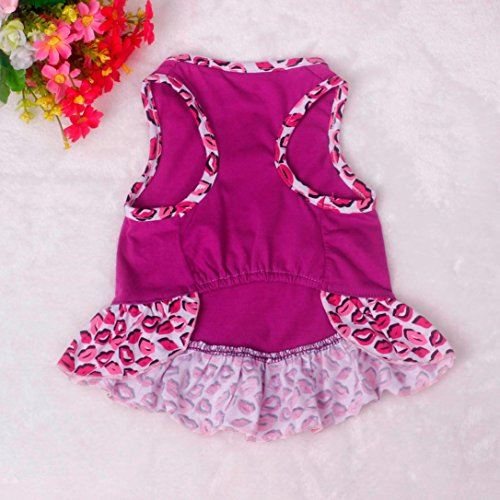 Picture of Voberry Small Dog Dress Fashion Pet Dog T-Shirt Dress Dog Cat Cute Summer Vest Skirt (M, Purple)