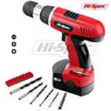 Hi-Spec DIY 18 V Electric Cordless Drill Driver Combo with Powerful 800 mAh Ni-MH Battery, 16 Position Keyless Clutch, Variable Speed Switch