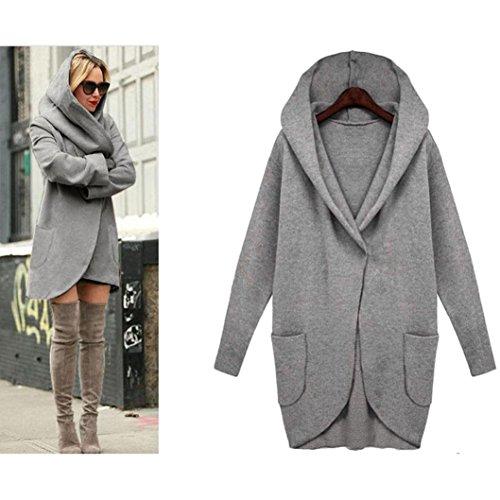 AMA(TM) Women Windbreaker Parka Outwear Slim Long Cardigan Jacket Coat (X-Large, Dark (One Button Swing Jacket)