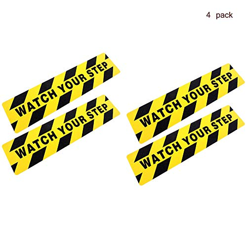 Forsun 4 Pieces 6 by 24 Inches Watch Your Step Warning Sticker Adhesive Tape Anti Slip Abrasive Tape for Workplace Safety Wet Floor Caution ()