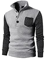 H2H Mens Knitted Slim Fit Pullover Sweater Shawl Collar With One Button Point