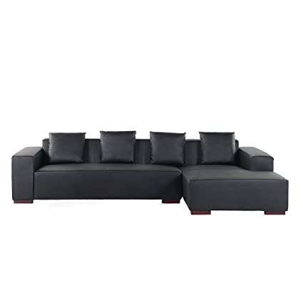Amazon Com Velago Lyon L Black Leather Modern Sectional Sofa Low