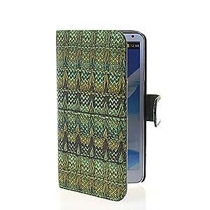 Wabbrye [Green] Cartera Funda protectora cuero sintético Con Soporte Plegable Carcasa Wallet Cover Protección Case para Samsung Galaxy Note 3