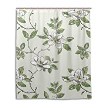"""SUABO Polyester Waterproof Fabric Shower Curtain Decorative Bathroom Curtain with 12 Hooks 60""""(w) x 72""""(h) Inch, White Magnolia Flower"""