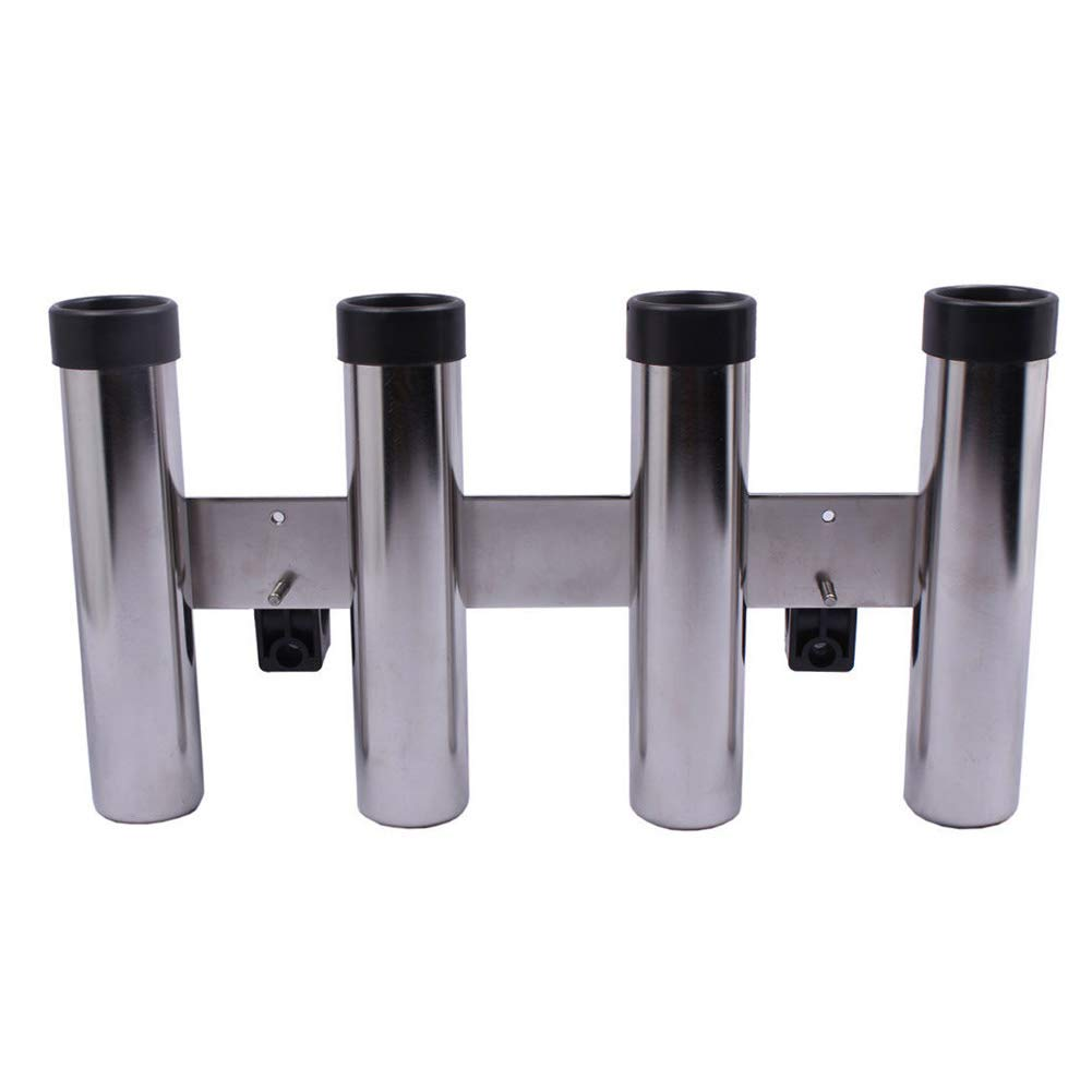 Hoffen Heavy Duty 316 Stainless Steel Fishing Rod Holder 4 Link 4 Tubes with Clamp for Marine Yacht