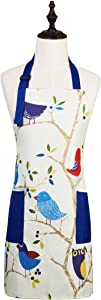 Love Potato Cute Cartoon Pattern Adjustable Kitchen Cooking Apron with 2 Pockets for Women and Men, Bird