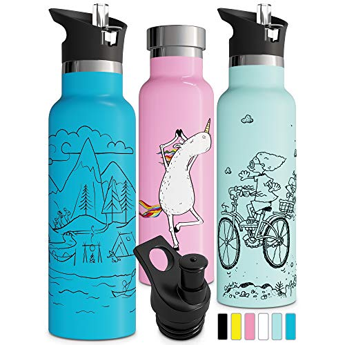 Double Insulated Water Bottle with BPA Free Straw Lid & Sports Cap | Stainless Steel Eco Friendly Non Sweat Durable Finish 20oz / 25oz Metal Hydro Thermos